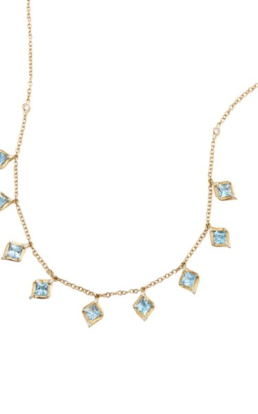 18K Yellow Gold Aquamarine, Diamond Necklace