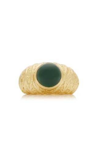 Willow 24K Gold-Plated Jade Ring
