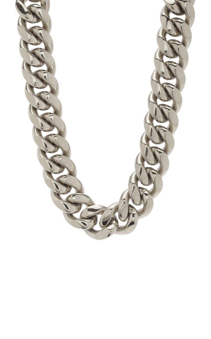 Silver-Tone Baguette Curb Chain Necklace
