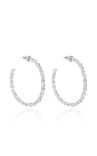 Infinity Crystal Rhodium-Plated Hoop Earrings