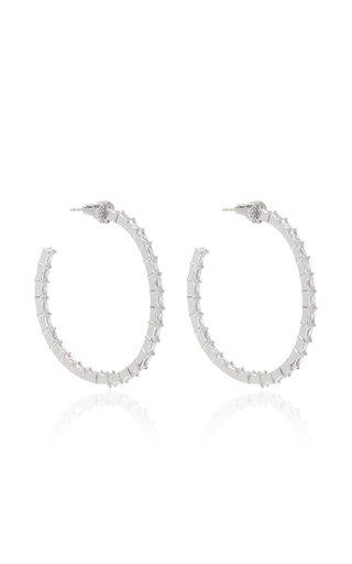 Infinity Crystal Rhodium-Plated Hoop Earrings