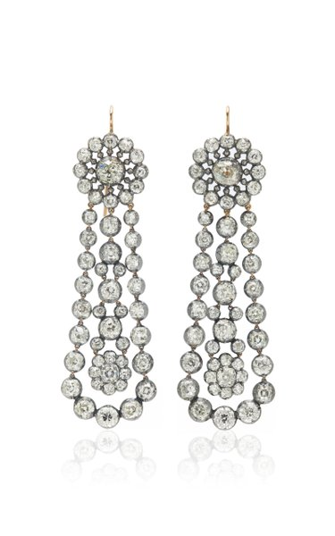 One of a Kind Antique Silver & Diamond Earrings