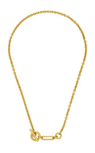 Gold-Plated Lariat Chain Necklace