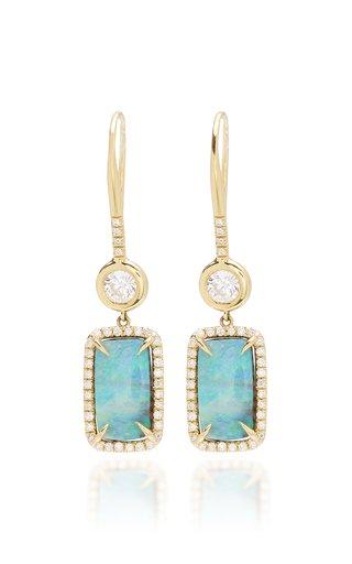 18k Gold Opal Diamond Drop Earrings