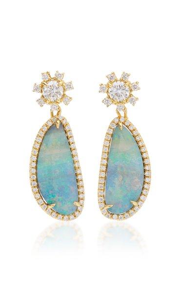 Halo 18k Gold Opal Drop Earrings
