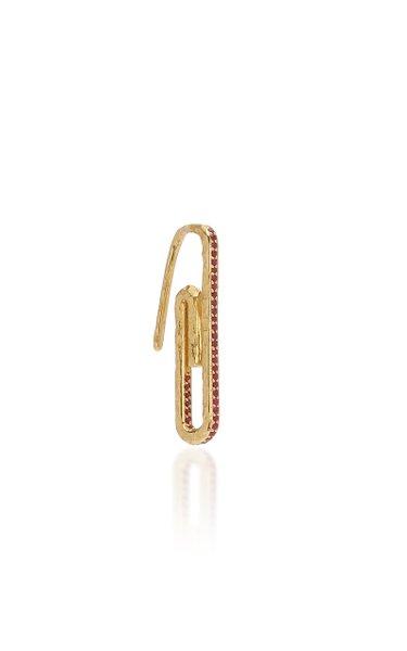 Paperclip 18K Yellow Gold Ruby Single Earring