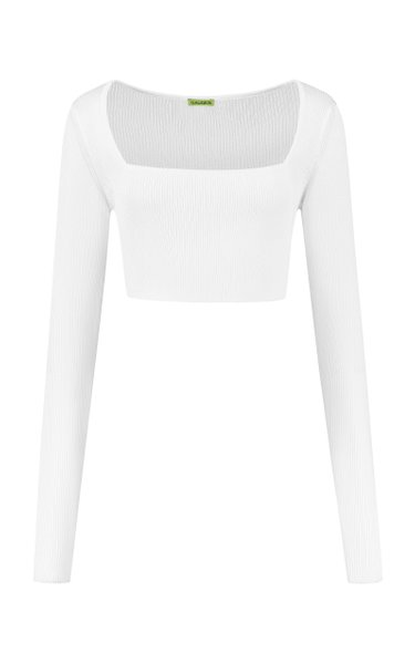 Kama Square-Neck Ribbed-Knit Crop Top