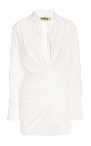 Naha Draped Silk Mini Shirt Dress