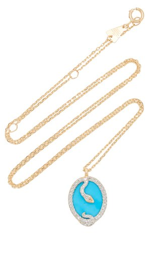 Snake 14K Yellow Gold Turquoise, Diamond Necklace