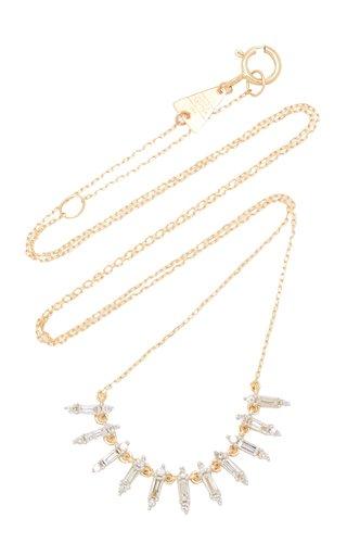 Large Curve 14K Yellow Gold Diamond Necklace