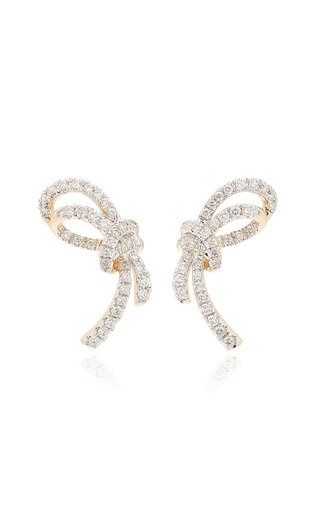 Large Forget Me Knot 14K Yellow Gold Diamond Earrings