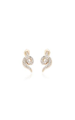 Snake 14K Yellow Gold Diamond Earrings