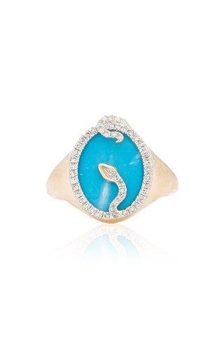 Snake 14K Yellow Gold Turquoise, Diamond Signet Ring
