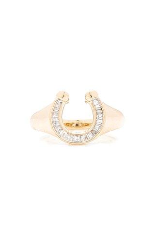 Horseshoe 14K Yellow Gold Diamond Signet Ring
