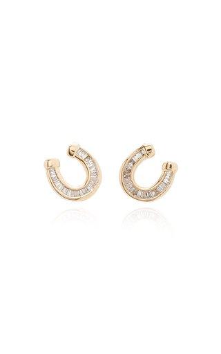 Horseshoe 14K Yellow Gold Diamond Earrings