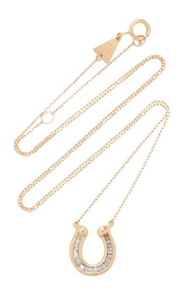 Horseshoe 14K Yellow Gold Diamond Necklace