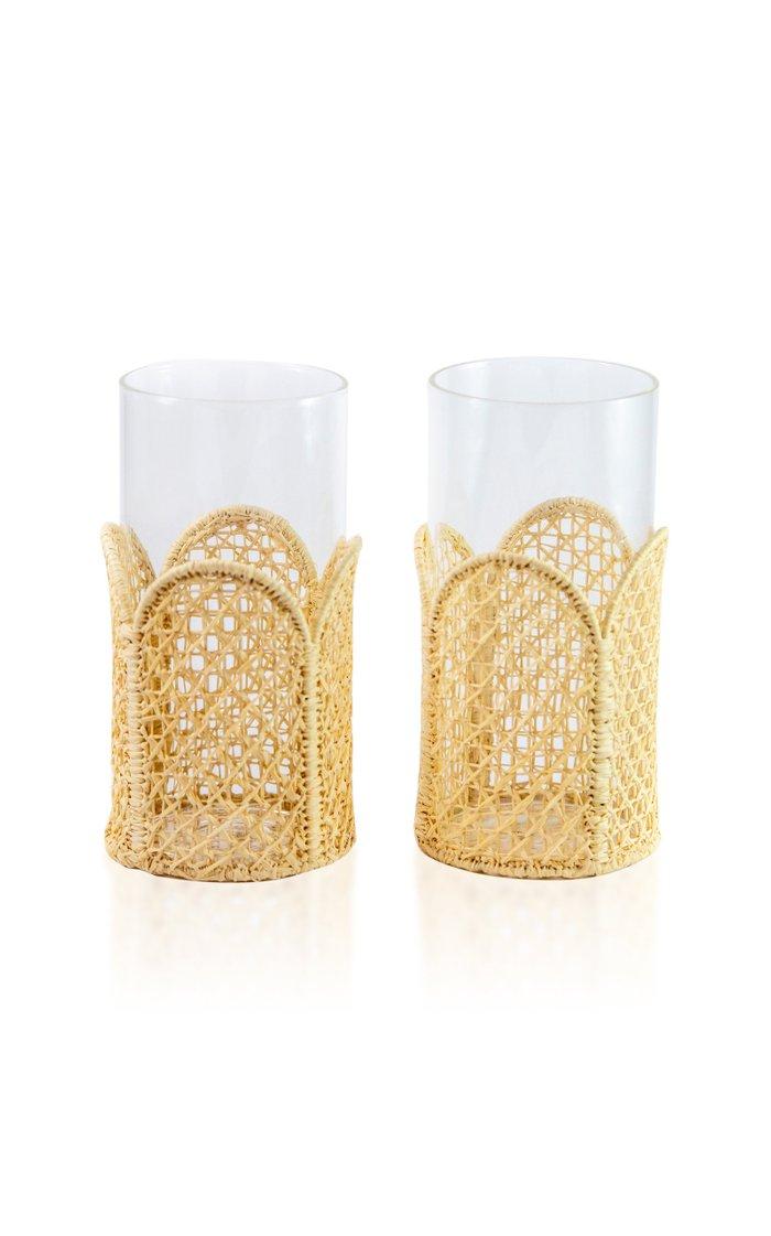Set-Of-Four Raffia-Lined Tall Glasses