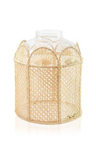 Raffia-Lined Glass Vase