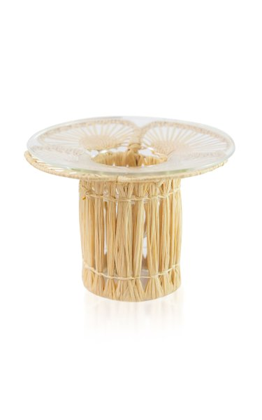 Raffia-Lined Glass Candlestick