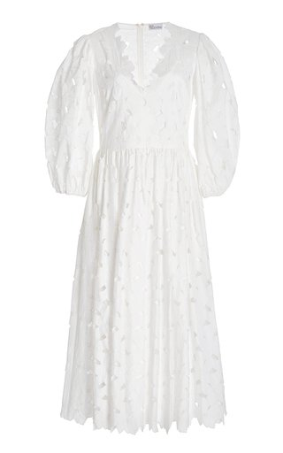 Lasercut Cotton-Blend Midi Dress