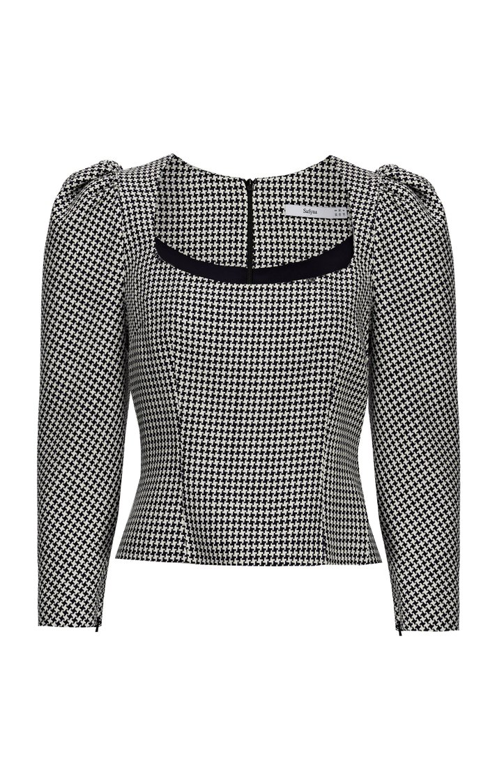 Georgia Houndstooth Puffed-Sleeve Top