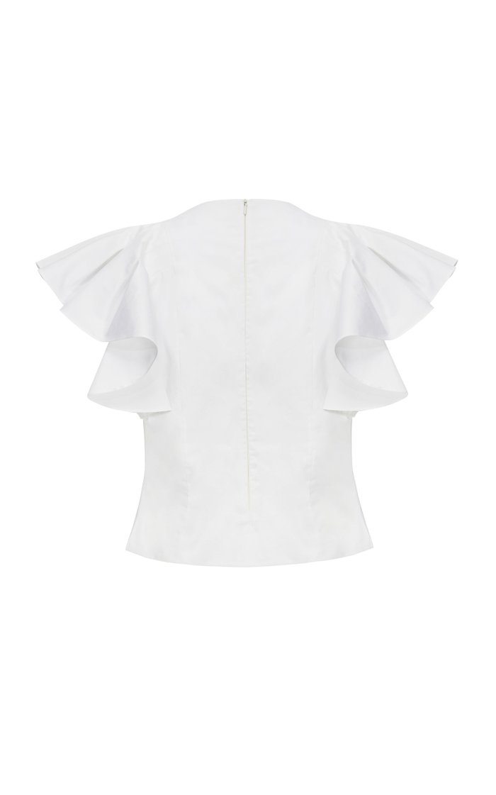 Steffi Draped-Sleeve Cotton Blouse