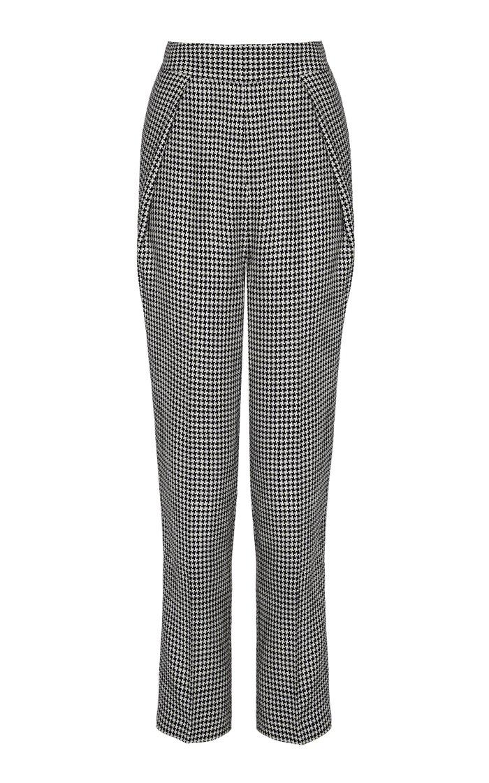 Fruzsina Houndstooth Pleated High-Waisted Pants