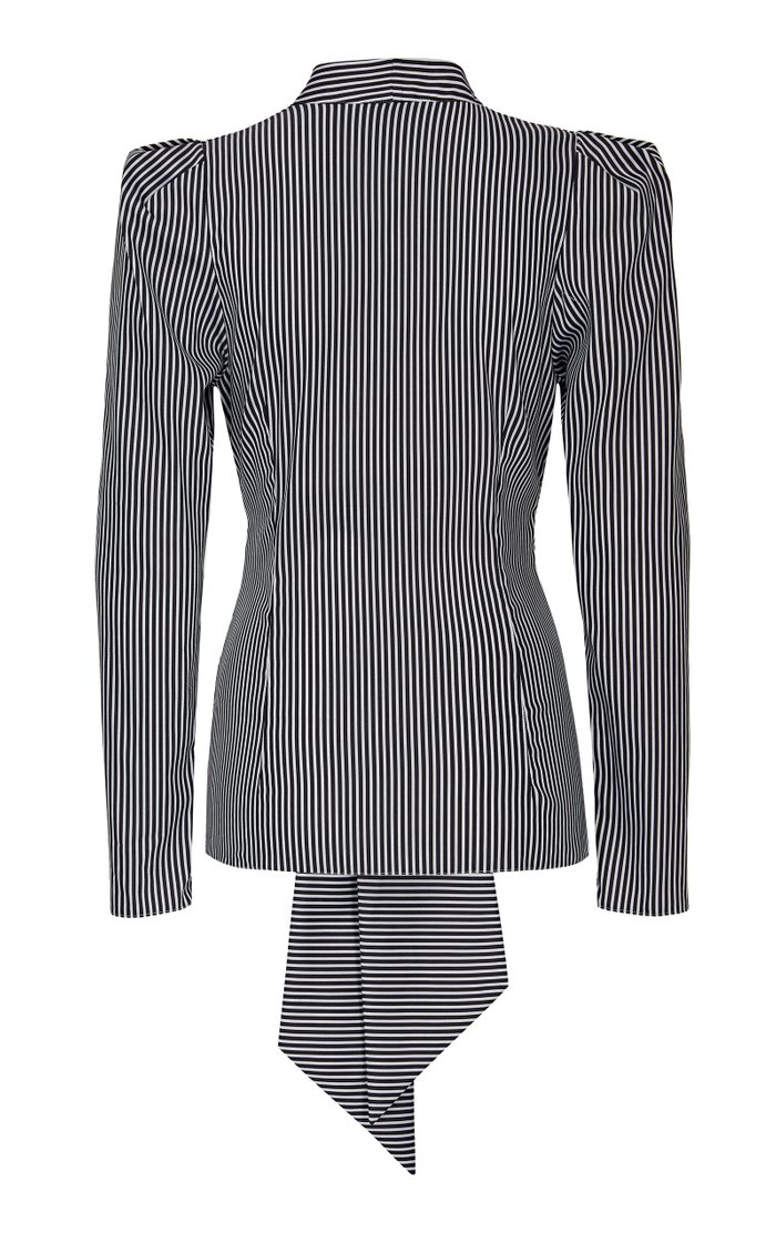 Zoe Striped Draped-Sleeve V-Neck Blouse