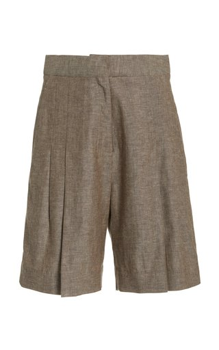 Pleated Herringbone Linen-Cotton Shorts