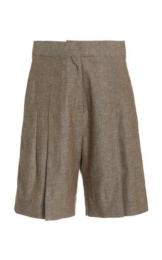 Pleated Herringbone Linen-Cotton Shorts