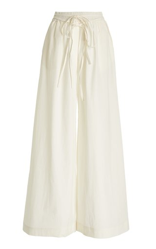 Belted Crepe Mid-Rise Flared-Leg Pants
