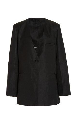 Cutout Twill Single-Breasted Blazer
