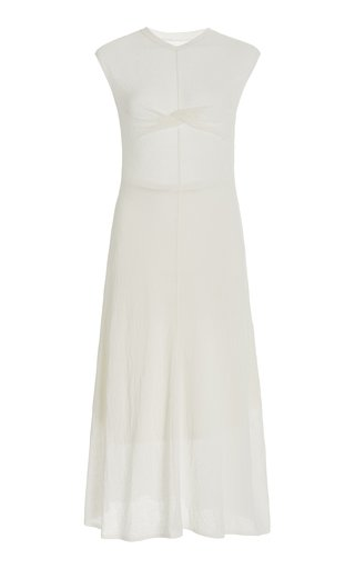 Twisted Cotton-Blend Knit Midi Dress