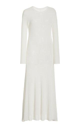 Crinkled Knit Cotton-Blend Maxi Dress