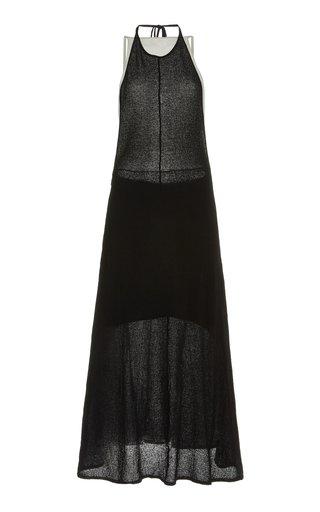 Layered Two-Tone Knit-Gauze Maxi Dress