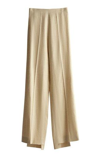 Mid-Waisted Linen-Blend Straight-Leg Pants