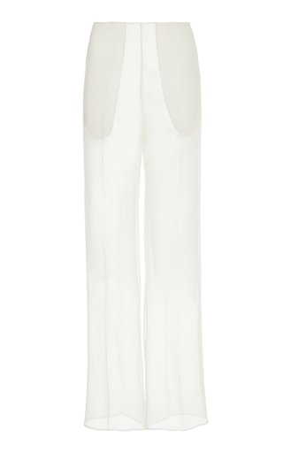 Mid-Waisted Organza Straight-Leg Pants