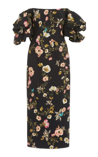 Floral-Printed Cotton-Blend Midi Dress