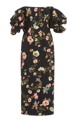 Floral-Printed Cotton-Blend Midi Dress