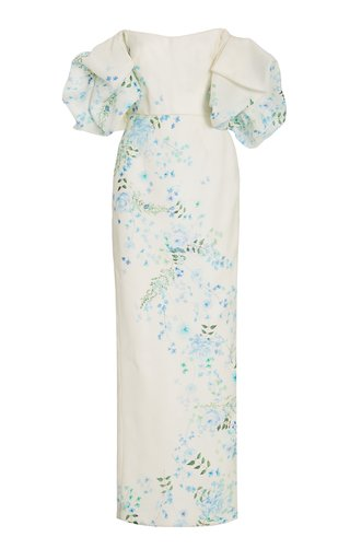 Printed Silk Off-The-Shoulder Gown