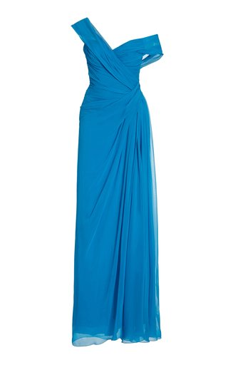Asymmetric Draped Silk Gown