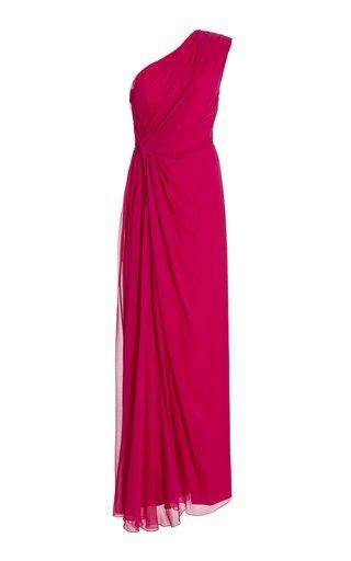 Asymmetric Draped Silk-Chiffon Gown