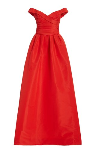Draped Off-The-Shoulder Silk Gown