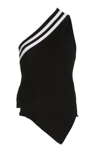 Varsity Stripe Asymmetric Wool Knit Top