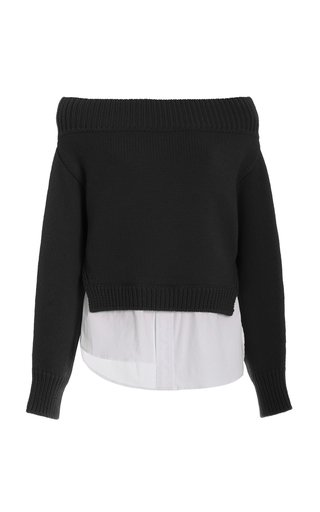 Off-The-Shoulder Shirt Tail Merino Wool Sweater