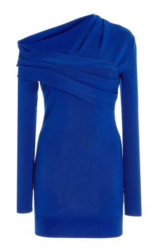 Asymmetric Draped Wool Mini Dress