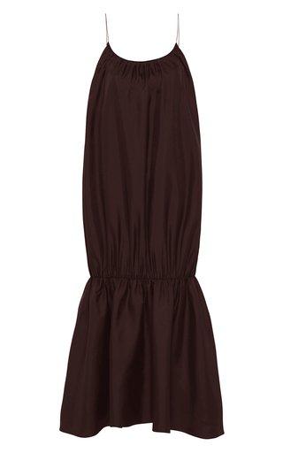 Silk Gathered Strap Dress