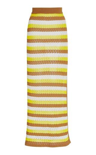 Sia Striped Pointelle-Knit Midi Skirt
