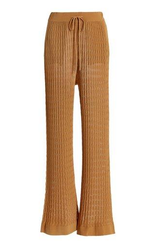 Gail Pointelle-Knit Pants