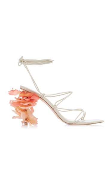 Effie Flower-Detailed Lace-Up Leather Sandals